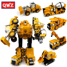 QWZ 5Pcs/Set 5 IN 1 Large Crane Engineering Transformation Robot Car Deformation Metal Alloy Construction Vehicle Toys Gift(China)