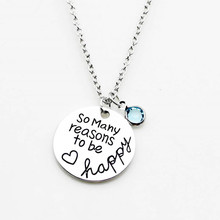 SO MANY REASON TO BE HAPPY Pendant Necklace with Blue Rhinestone Jewelry Women Mother Gift(China)