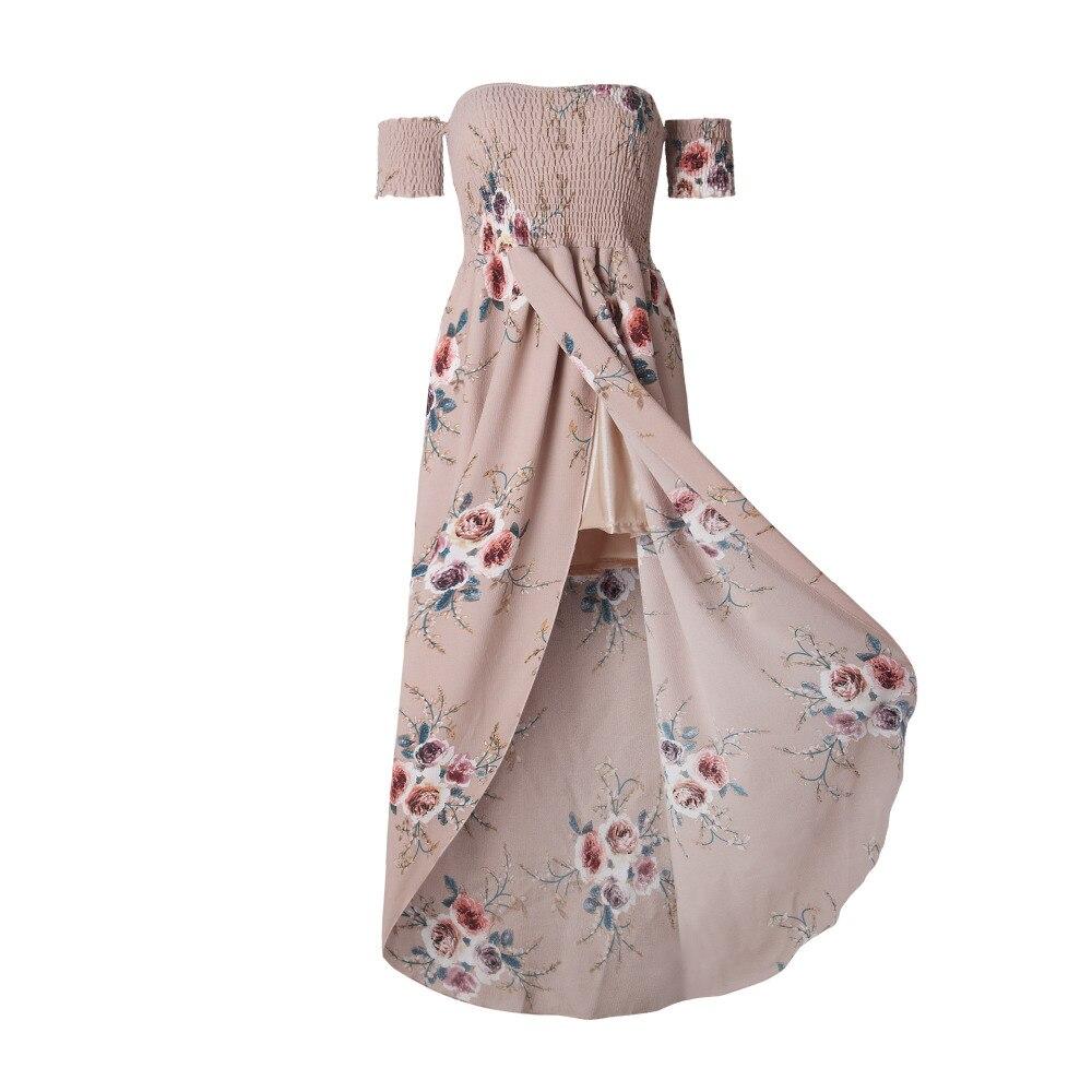 LOSSKY Off Shoulder Vintage Print Maxi Summer Dress 10