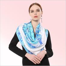 HA831 Women's 100% Mulberry silk pashmina printing scarf  14 momme silk twill  90cm*90cm made in Hangzhou