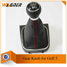 Free Shipping CNWAGNER Red line 5/6 Speed Gear Leather handle cover for VW Volkswagen GOLF 6 VI MK6 Jetta 5 Mk5 1KD711113A