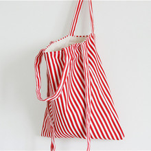 Brand New Original Cotton Canvas Student Shoulder Messenger Bag 3 Straps Red White Striped S074 Red Red(China)