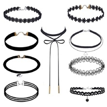 choker Fashion Amazon combination necklace lace tattoo fringed clavicle chain personality clavicle chain  jewelry