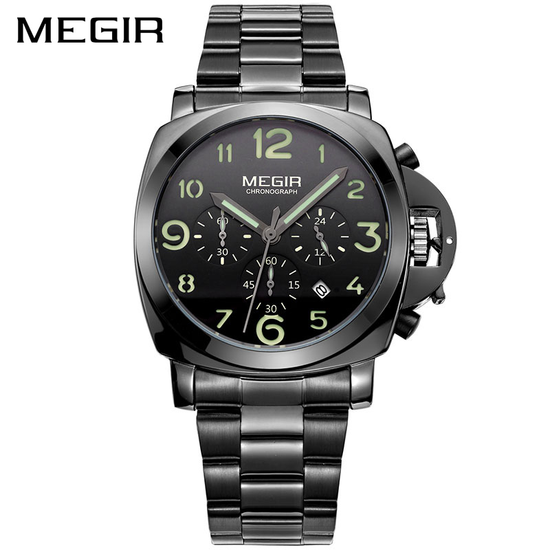 MEGIR Original Men Watch Top Brand Luxury Quartz Watches Stainless Steel Strap Waterproof Wristwatches Clock Relogio Masculino<br>