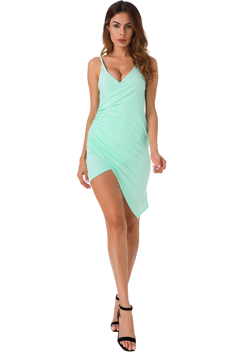 Forefair Sexy Ruched Cross V- Neck Strap Dress 2017 Summer Light Green Cotton Dress Women Backless Bodycon Party Dresses 5