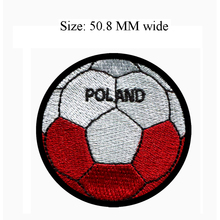50.8MM wide Poland flag patch of soccer ball football shipping to for flag circle patch/school patch/accessories for crafts(China)
