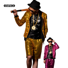 Yellow Pink Nightclub Bar Stage Show Costumes Custom Made Men Sequin Baseball Jacket Male Fashion Hip-hop Coat