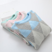 Casual Argyle Sweater Women Pullovers 2017 new Autumn Winter Fashion O-Neck Candy Women Sweater Pull Femme Sweter Mujer(China)