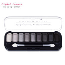 Perfect Summer 9 Color Professional Classic Black Gray White Eye shadow Palette Makeup Matte Shimmer Eyeshadow(China)
