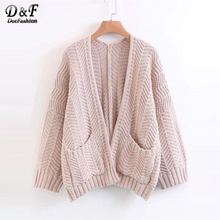 Dotfashion Pink Open Front Drop Shoulder Sweater Coat 2017 Apricot Pocket Cardigan  Ladies Long Sleeve Solid Knit Sweater d4c481567