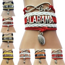(10pcs/Lot) 8 Styles American College Football Bracelets -Custom Football  Charm Teams Club Friendship Wrapped Leather Braid