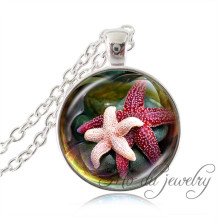 Pink and red starfish pendant silver chain glass pendant necklace marine life jewelry starfish long necklace animal lover gift