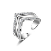 PATICO Cool Statement Rings for Women Girls Solid 925 Sterling Silver with AAA Zircon Mosaic Hyperbole Pyramid Party Jewelry(China)