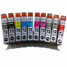 10 x Inkjet Cartridges Ink Cartridge PGI 72 PGI-72 PGI-72XL PGI 72 XL 72XL For Canon Pixma Pro 10 PIXMA Pro 10S Generic Printer(China)