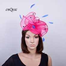 Hot pink royal blue Sinamay Fascinator Hat for Tea party Weeding,Kentucky Derby,Ascot Races,Melbourne Cup .(China)