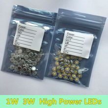 300 PCS 1W 3W LED Diode Chip High Power LEDs white warm red blue green yellow orange purple ice blue Copper Holder 350ma 700ma