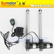 "A kit, 2 pcs stroke 300mm 12"" Linear Actuator progressive DC motor, 1 pcs electric adapter, 1 pcs switch controller(at same time"