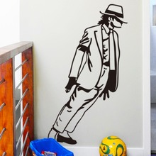 adesivo de parede Black Michael Jackson Dancing vinyl Art Wall Stickers Home Decor Living Room Removable Wall Decals Mural D107