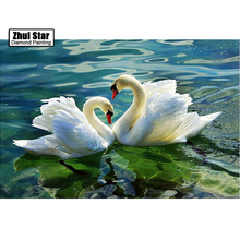 ZOOYA 5D DIY diamond embroidery swan spring lake diamond painting Cross Stitch full drill Rhinestone mosaic home decoration