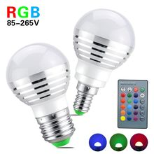 1PCS RGB Lamp Lovely Magic Night Light E14 E27 Led Bulb 85-265V Spotlight With IR Remote Controller Holiday Decor Night Lighting(China)
