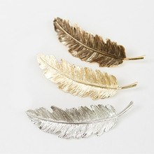 Big Feather Hair Grips Gold/ Silver Plated French Barrette Women Hairpin Hair Clips Fashion Accessories Pinza de pelo(China)