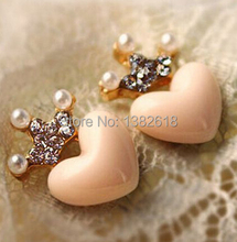 e0157 Free Shipping Mellow Pink Crystal Crown Peach Heart Love Stud Earrings Pearl earrings(China)