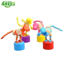 Wooden Baby Swing Dancing Dinosaur brinquedos Funny juguetes games Rocking Animals kids toys for children action figures bonecos