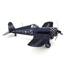 Colorful Ww2 F4u Corsair Fighter Airplane Fun 3D Metal DIY Miniature Model Kits Puzzle Toys Children Educational Boy Splicing(China)