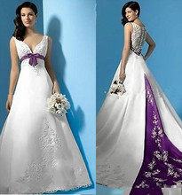 Best Selling White And Purple Satin A_Line Wedding Dresses Empire Waist V_Neck Beads Appliques Bow Bridal Gowns Custom Made