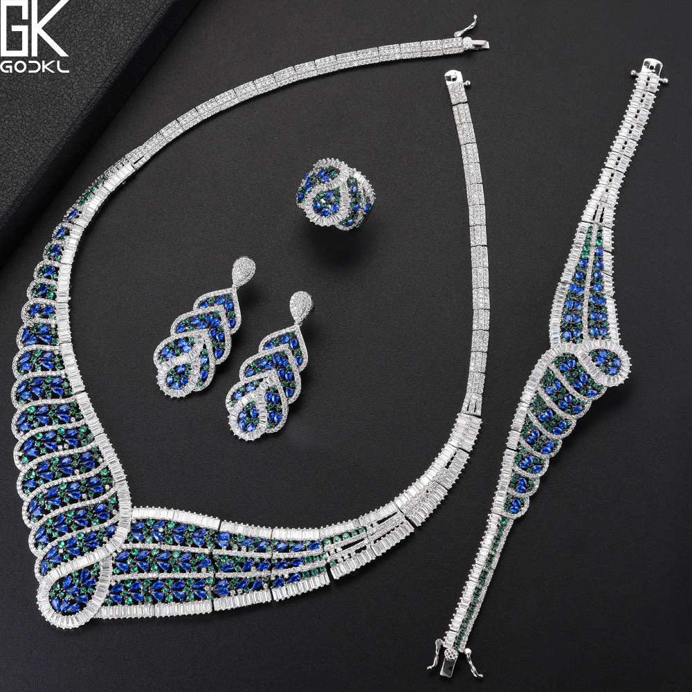 GODKI NEW Luxury Peacock Blue 4PCS African Jewelry Sets For Women Wedding Cubic Zircon Crystal CZ DUBAI Bridal Jewelry Sets 2018