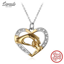 Dorado Mom Loves Baby Hand in Hand Love Heart Charms Necklace 925 Sterling Silver Necklace & Pendant Best Gifts(China)