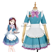 LoveLive!Sunshine!! Sakurauchi Riko Valentine's day Maid Apron Dress Uniform Outfit Anime Cosplay Costumes