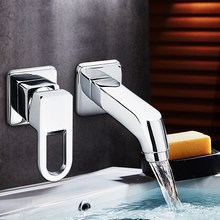 New Chrome Hot/Cold Two Hole Mixer Sink Water Faucet Single Handle Water Mixer Tap Bathroom Fixture Basin Faucets(China)