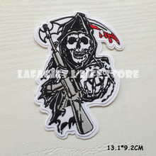 3pcs/lo Son of Anarchy LOGO Patches for Clothing Jacket Bag punk Motorcycle HAT Garment Appliques Iron Sew on patch Vest sticker