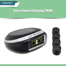 Smart Car TPMS Tyre Pressure Monitoring System Solar Power charging Digital LCD Display Auto Security Alarm System EW-TPMS-A2(China)