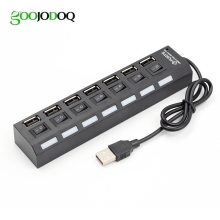 4 / 7 Port USB HUB Usb 2.0 Hub Multi Usb Splitter with on/off Switch or EU / US Power Adapter for MacBook PC Notebook Laptop
