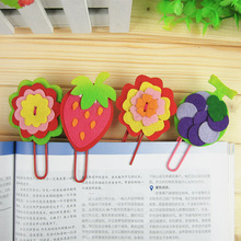 20PCs children 3D EVA bookmark with clips/ Kids DIY handmade cartoon sticker for kindergarten art and craft educational toys(China)