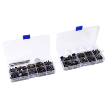 100 PCS Press Black Nickel-colored Metal Stud Buttons with Install Tools Buttons Snap for Jeans Leather Sportswear 15mm(China)