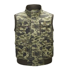 Hyweacvar Men's Camouflage Work Tactical Mult-Pocket Studio Vest Rib Sleeve Hiden Zipper XL-4XL(China)