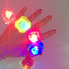 50pcs/lot 2017 LED Light diamond Flashing Finger Ring, Elastic Rubber Ring, Event Party Supplies Glow Toys free shipping(China)