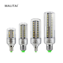 1Pcs Full Aluminum Cooling E27 E14 5W 7W 9W 12W 15W 18W 20W LED Corn light lamp No Strobe AC85V-265V 5736SMD LED Spotlight Bulb