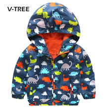 V-TREE Spring Baby Boys Girls Clothes Jacket Coat Cartoon Dinosaur Print Jacket For Boys Kids Children Outwear Baby Clothes