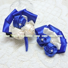 2pcs Handmade Silk Crystal Artificial Rose Bride Groom Corsage Brooch Flower Wedding Church Decor Royal Blue F5083