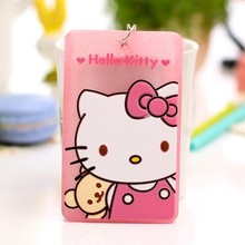 1pcs Cartoon Hello Kitty PVC Credit Card Case Portable ID Bus Identity Badge Holder With Neck Lanyard Free Shipping