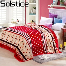 Solstlce Bedding High Quality Brand Red Striped Small Dots Flannel Blanket Warm Soft Coral Fleece Blanket On The Bed Plush Quilt(China)