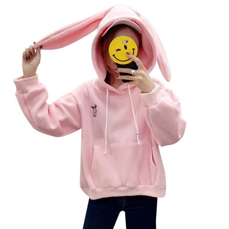 Women Girl Cute Hoodie Sweatshirt Top Hooded Pullover Fluffy Fur Pink Sweet Cute