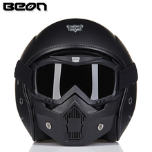 Brand BEON Motorcycle Retro Black Cruiser Helmet Moto Vintage Classical Glass Fibre Open Face Kask Mask&Goggles Men&Women - Motor Armor Store store