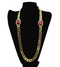 Trendy Cuban Curb Link Chain Necklace 2Pc Square Red  Pendant Necklace Hip Hop Rap Men or Women jewelry