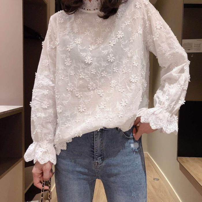 Sweet romantic face flower lacing collar shirt long sleeve white  blouse female 2019 spring