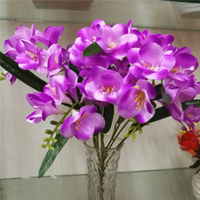 2pcs Artificial Freesia Bunch with Green Leaf 8 stems Full Flowers for Wedding Centerpieces Home Part Floral Arrangement Part
